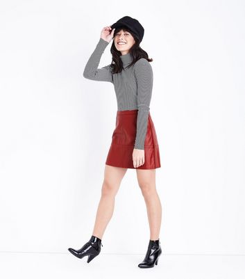 Dark Red Leather-Look Mini Skirt New Look