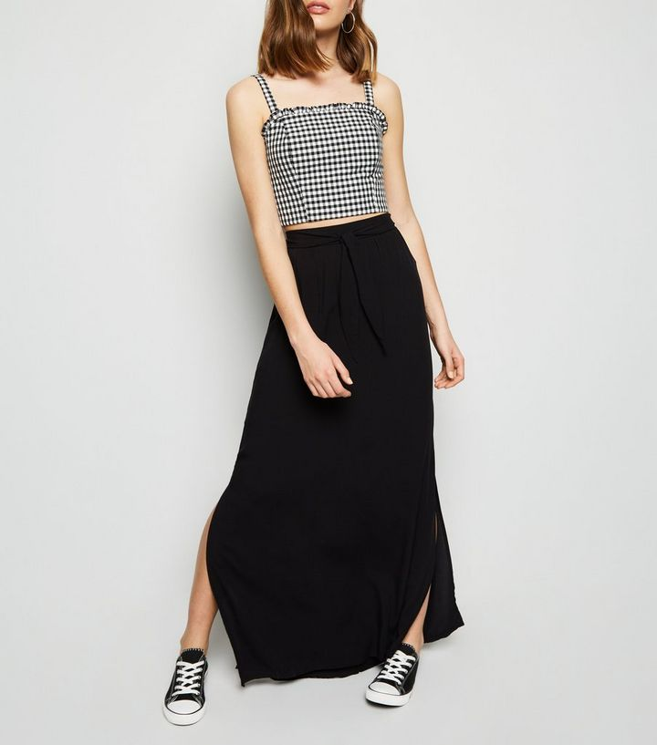 db7acdcba6 Black Tie Waist Maxi Skirt | New Look