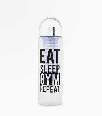 Black Eat Sleep Gym Repeat Infuser Water Bottle New Look