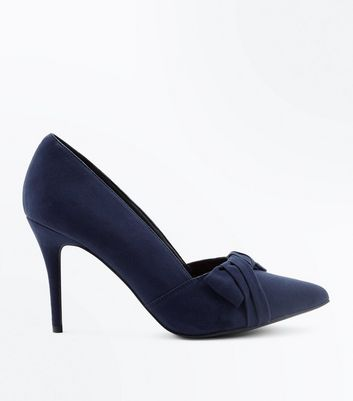 Navy Comfort Flex Suedette Bow Front Courts New Look
