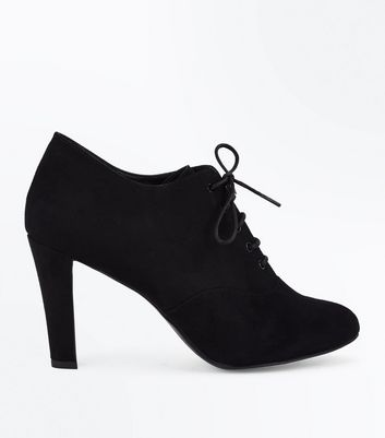 Black Comfort Flex Suedette Lace Up Shoe Boots New Look