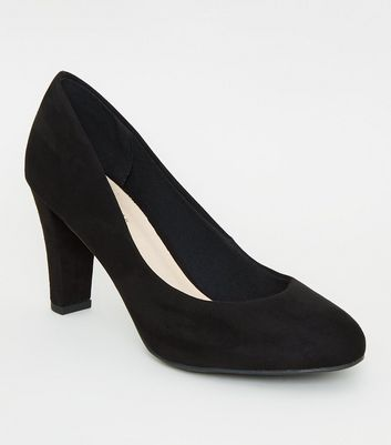 Black Comfort Flex Suedette Block Heel Court Shoes