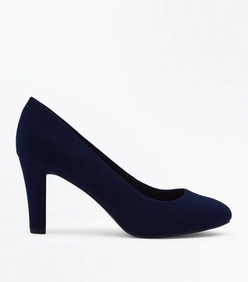 Navy Comfort Flex Suedette Block Heel Court Shoes