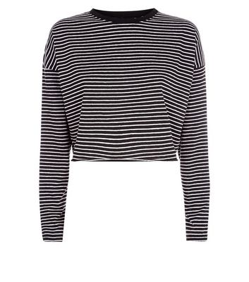 Black Stripe Long Sleeve Crop Top New Look