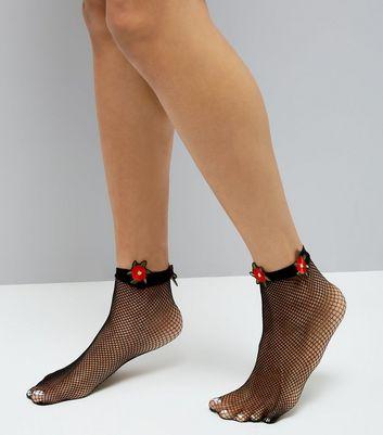 Black Floral Embellished Fishnet Socks New Look