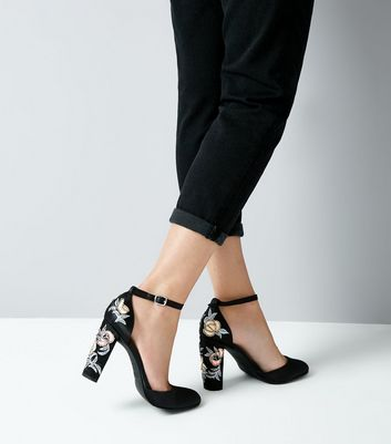 Wide Fit Black Satin Embellished Block Heel Courts New Look