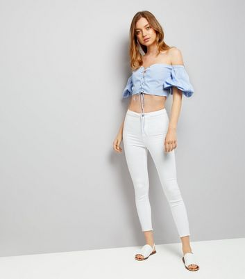 Cameo Rose Blue Stripe Lace Up Bardot Neck Crop Top New Look
