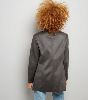 Dark Grey Suedette Waterfall Jacket New Look