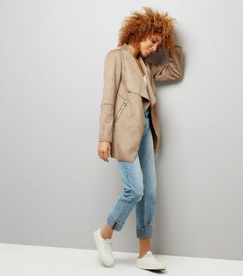 Mink Suedette Waterfall Jacket New Look