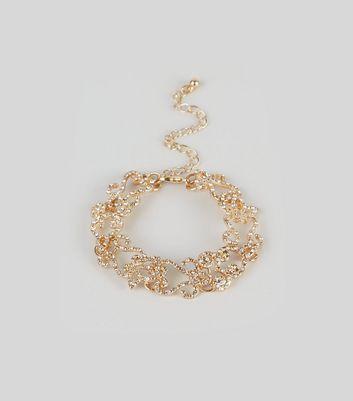 Gold Filigree Gem Embellished Bracelet New Look