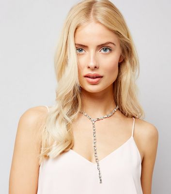 Silver Crystal Stone Drop Necklace New Look