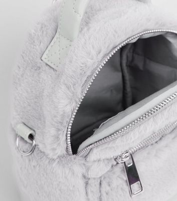 Grey Faux Fur Mini Backpack New Look