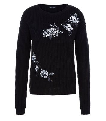 Teens Black Ribbed Floral Embroidered Jumper New Look