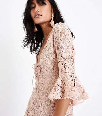 Pink Lace Lattice Front Skater Dress New Look