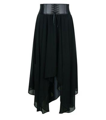 Teens Black Corset Belt Hanky Hem Skirt New Look