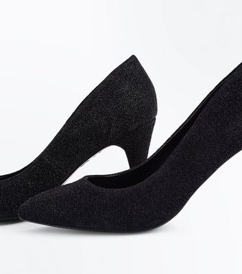 Black Glitter Cone Heel Court Shoes New Look