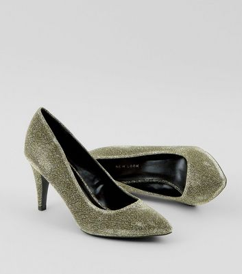Gold Glitter Cone Heel Court Shoes New Look