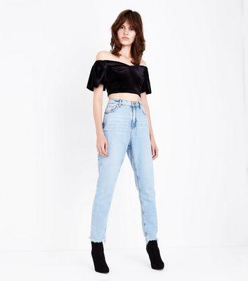 Black Velvet Sweetheart Puff Sleeve Crop Top New Look