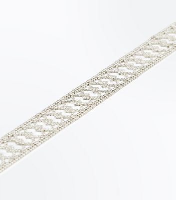 Crystal Diamond Pattern Wide Choker New Look