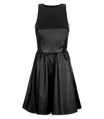 Black Leather-Look Skater Dress New Look
