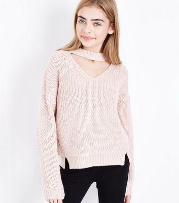 Teens Shell Pink Choker Neck Jumper New Look