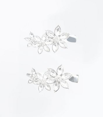 Silver Flower Embellished Hair Clips New Look