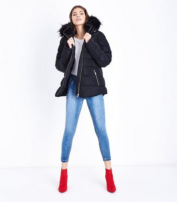 Blue Vanilla Black Piped Hooded Puffer Jacket New Look
