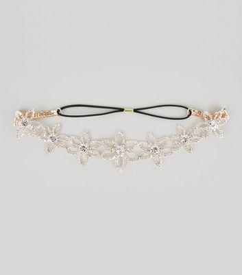 Silver Floral Diamante Elastic Headband New Look