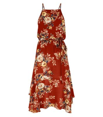 Red Floral Print Hanky Hem Midi Dress New Look
