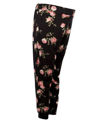 Maternity Black Floral Printed Joggers New Look