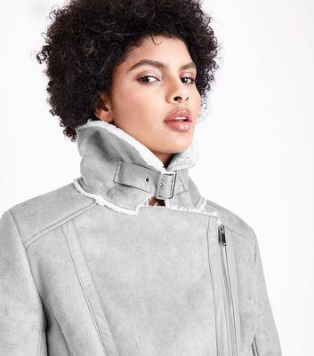 Blue Vanilla Grey Aviator Jacket New Look