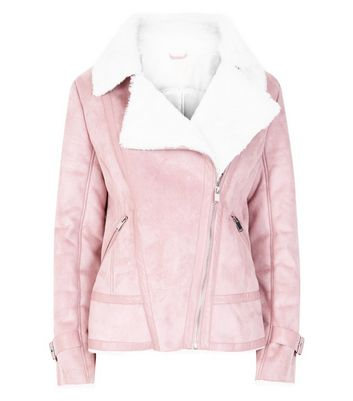 Blue Vanilla Shell Pink Aviator Jacket New Look