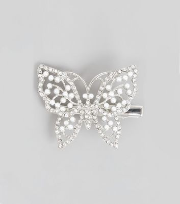 Silver Pearl Gem Butterfly Hair Clip New Look