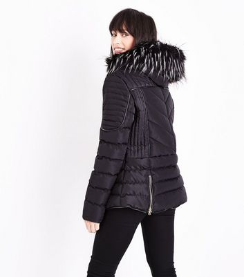 Blue Vanilla Black Faux Fur Trim Fitted Puffer Jacket New Look