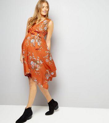 Maternity Orange Floral Print Hanky Hem Dress New Look