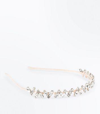 Rose Gold Half Flower Embellished Headband New Look