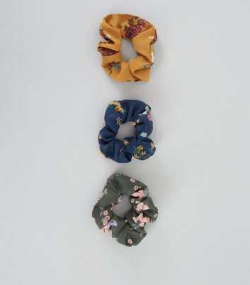 3 Pack Mustard Blue and Green Floral Scrunchies New Look