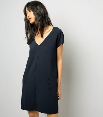 Black V Neck Tunic Dress New Look