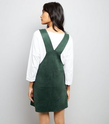 Dark Green Suedette Pinafore Dress New Look