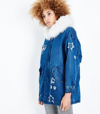 Blue Vanilla Blue Denim Faux Fur Hooded Parka New Look