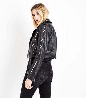 Blue Vanilla Black Studded Biker Jacket New Look