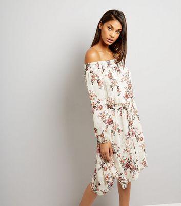 Tall White Floral Bardot Hanky Hem Dress New Look