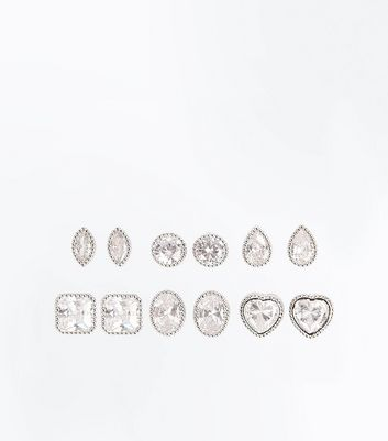 6 Pack Cubic Zirconia Mixed Shape Stud Earrings New Look