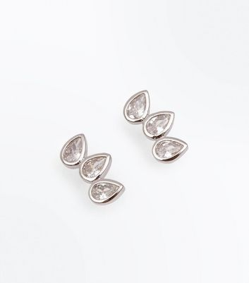 Silver Cubic Zirconia Teardrops Stud Earring New Look