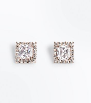 Rose Gold Cubic Zirconia Embellished Square Stud Earrings New Look