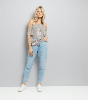 Tall Grey Floral Print Cold Shoulder Top New Look