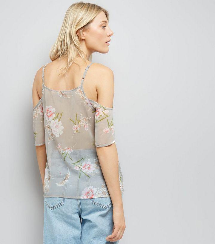 0b809d77881 ... Tall Grey Floral Print Cold Shoulder Top. ×. ×. ×. Shop the look