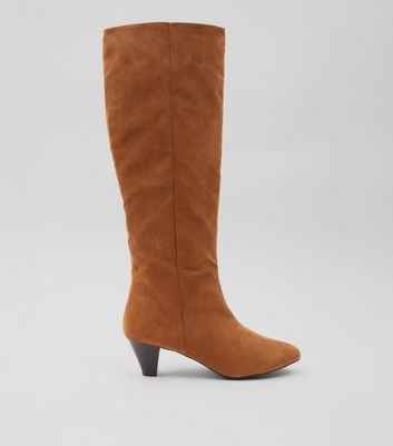 Tan Suedette Knee High Heeled Boots New Look