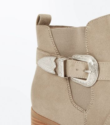 Mink Suedette Western Buckle Ankle Boots New Look