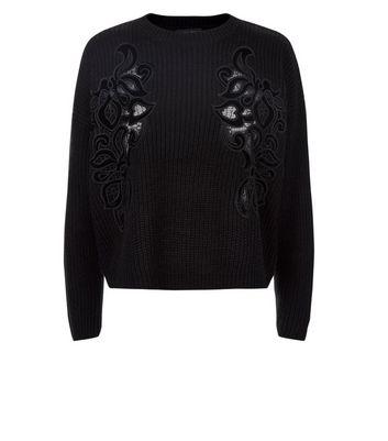 Black Velvet Lace Detail Jumper New Look